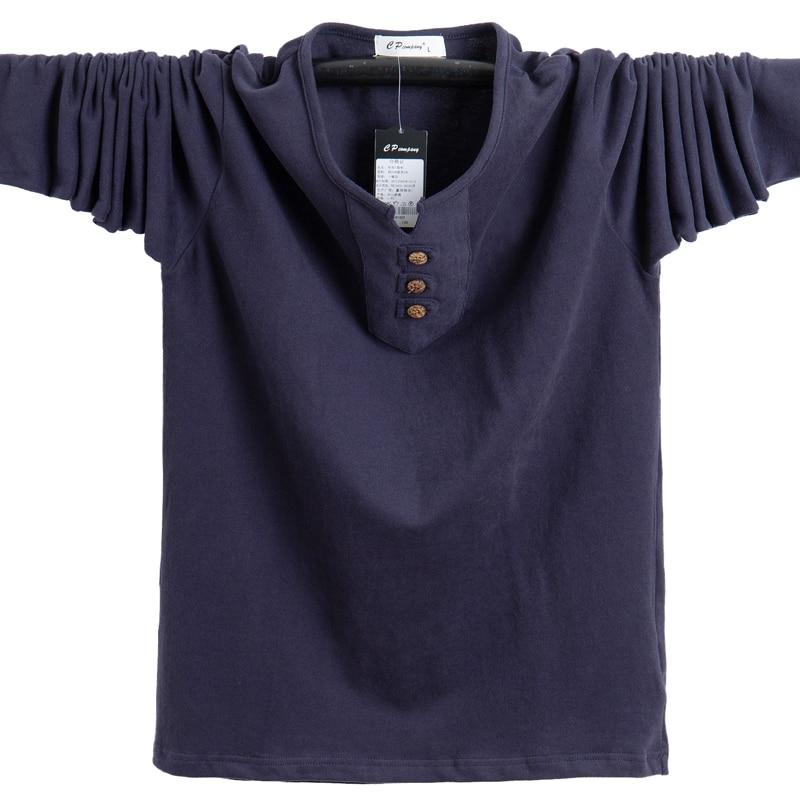 New Autumn Mens T-Shirts Fashion 2020 Slim Fit Long Sleeve Cotton T Shirt Men Button Tops Casual Men's Clothing Plus Size 5XL