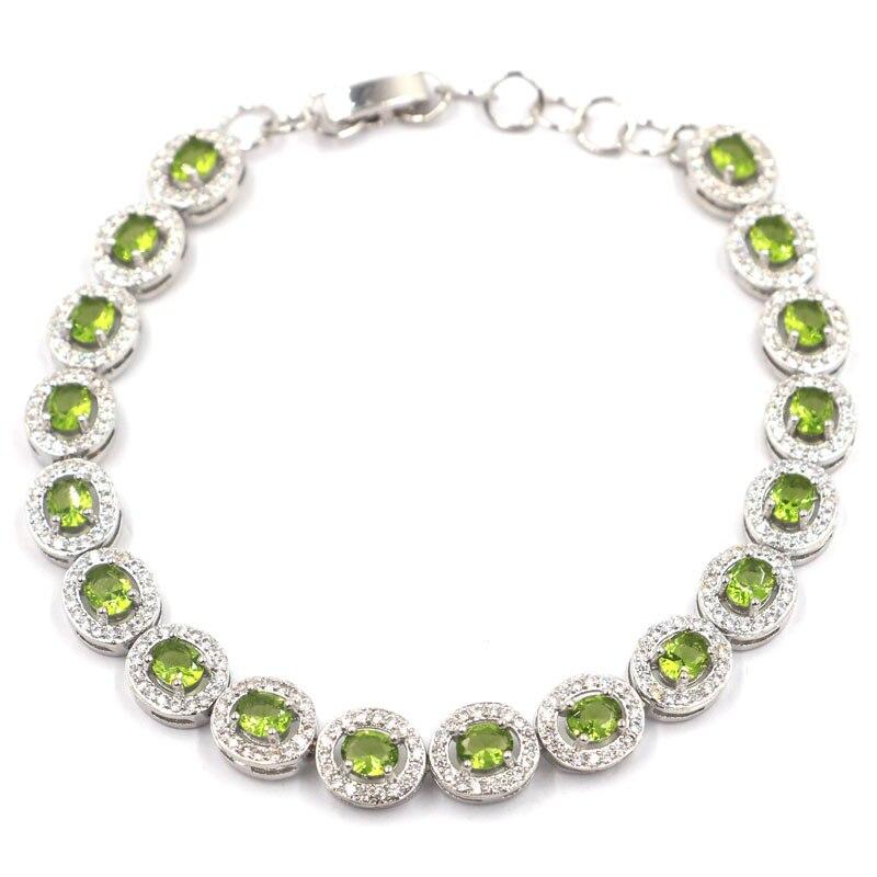 10x8mm Pretty Created Green Peridot White CZ Woman's Gift Silver Bracelet 8.0-9.0in