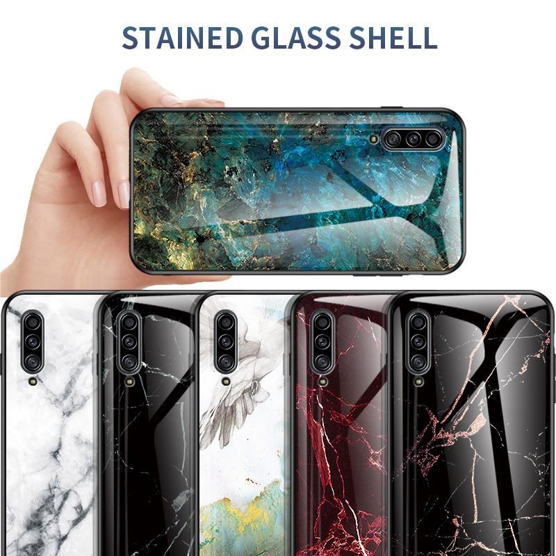 Funda de vidrio templado de mármol para Samsung Galaxy A30S A50S funda de silicona suave para A10 E A20 A70 S M30S A30 A40 A50 A60 A80 A90 5G