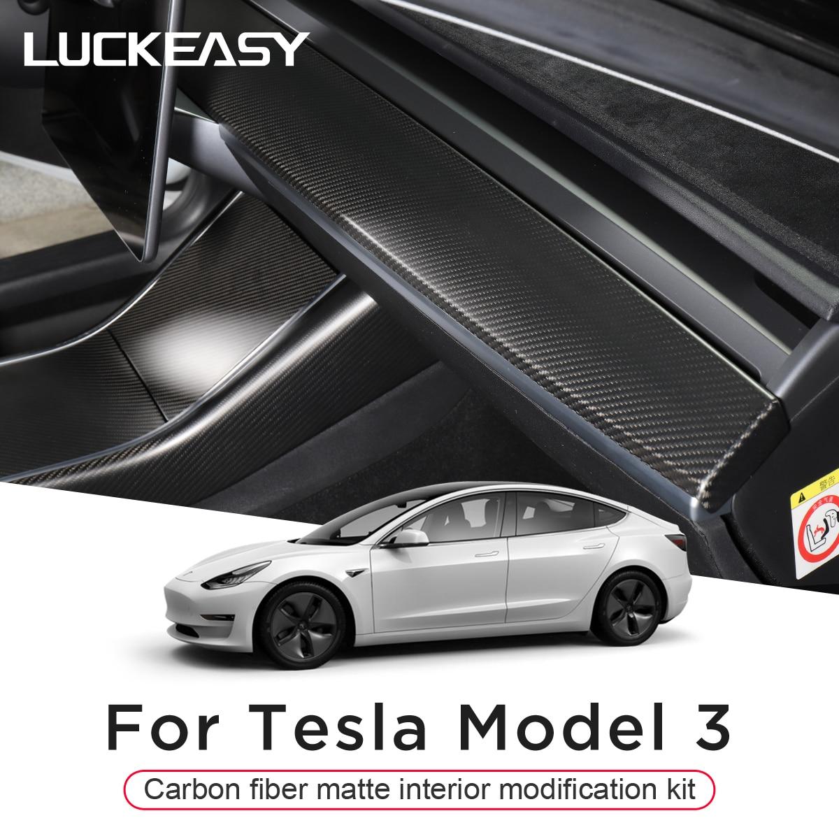 اكسسوارات السيارات الداخلية ل تسلا Model3 نموذج 3 الكربون ماتي نافذة زر مركز التحكم قفل الباب التبديل مجموعة كاملة التصحيح