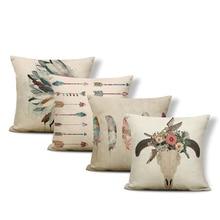 Coussin de tête de forme Boho 43*43Cm   Housse de coussin Simple, en Polyester et lin, motif plume, flèche, décoration de la maison, salon