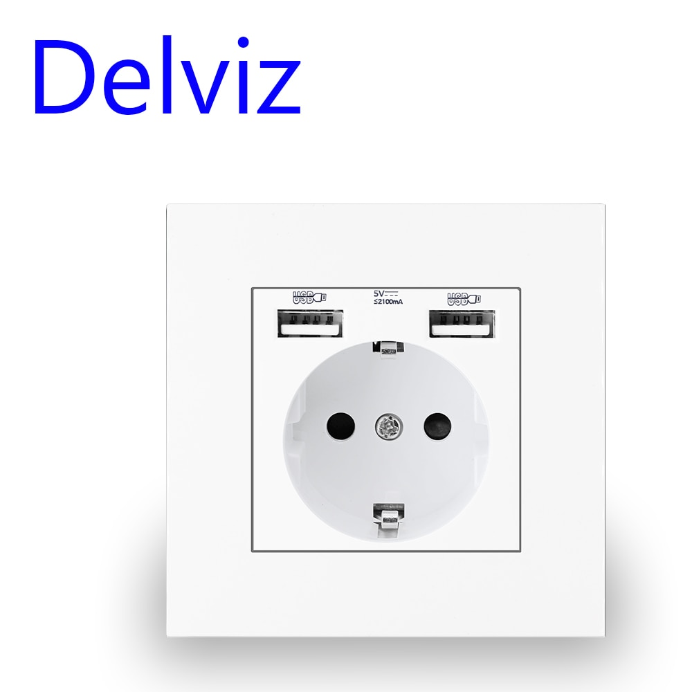 Delviz Wall USB Power Socket, Many New style Panel, Bedroom socket,AC 110V-250V 16A Wall Embedded, Double usb EU Standard Outlet