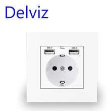 Delviz стены USB Мощность гнездо, много Новый стиль Панель, Спальня гнездо, переменный ток, 110V-250V 16A настенный встраиваемая, двойной usb-зарядное ус...
