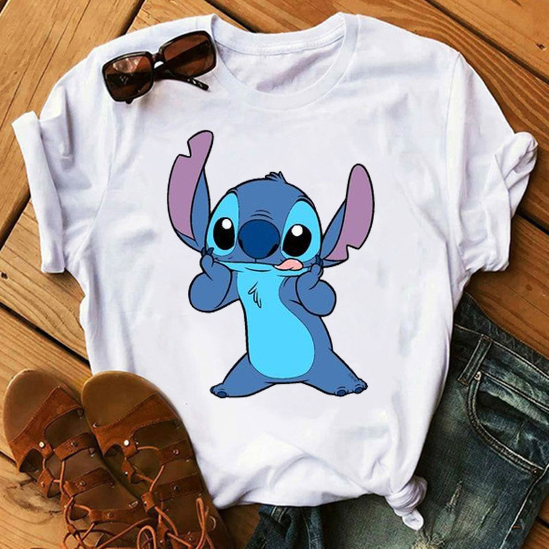 Camiseta de moda con estampado de maléfica y Stitch para mujer, remera...