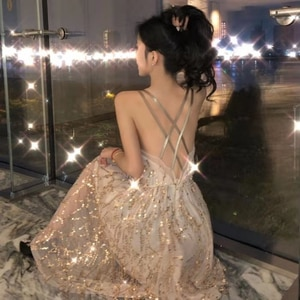 Blingbling Sequin Fairy Women Elegant Sweet Party Dress Female Casual Sexy Lace Kawaii Spaghetti Strap Dress Summer 2021 New