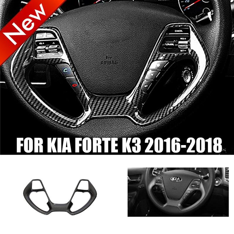 Black DX Carbon Fiber Inner Steering Wheel Strip Cover Trim For Kia Forte K3 2016-2018 Automotive Interior Stickers