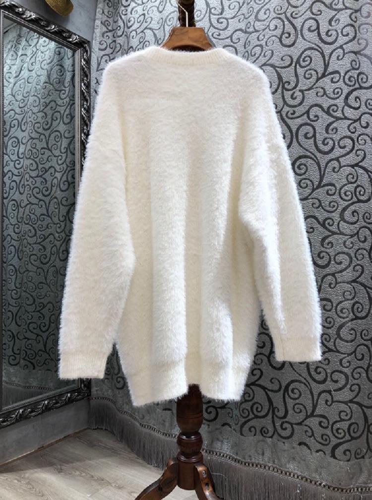 Top Quality New Wool Sweaters 2020 Autumn Winter Mohair Knitting Hand Made Beading Long Sleeve Warm White Pink Sweaters Pullover enlarge