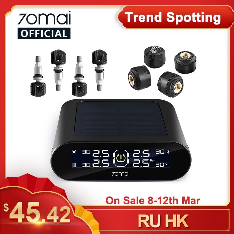 70mai Tire Pressure Monitoring System for Car Mobile APP Control LED Screen Solar Power 4 Sensors 70Mai TPMS Auto security Alarm