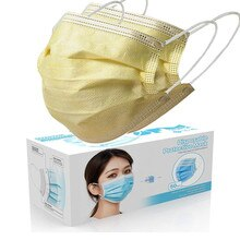50 Pcs Yellow Good Quality Disposable 3-ply Breathable Face Ma Sk For Lips Care Ear Loops Disposable