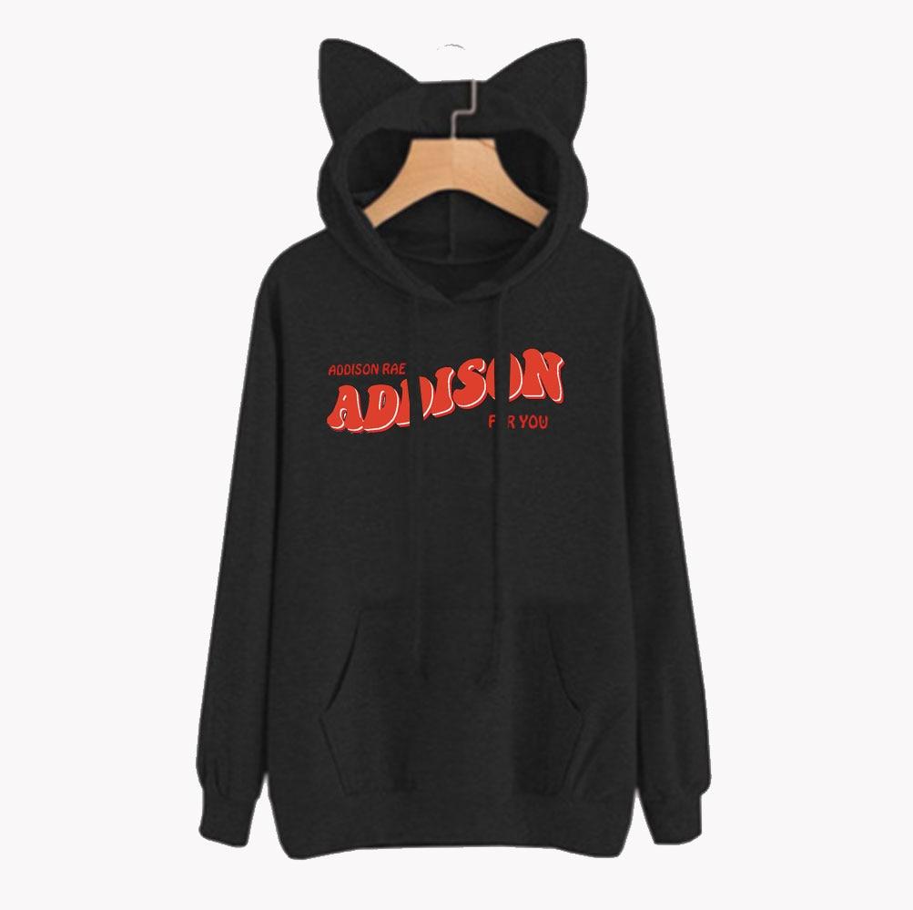 FRDUN TOMMY Kawaii Addison RAE Merch hoodies mujeres gato orejas Sudadera con capucha chándal Unisex