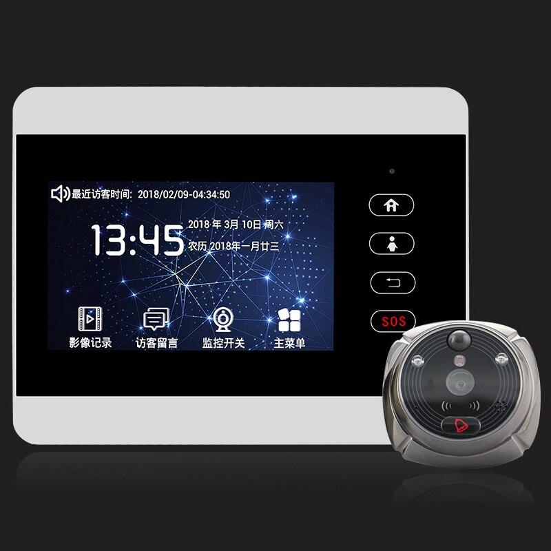 ROLLUP iHome5 Mirilla WiFi дверной глазок и видео IP дверной звонок 4-дюймовый экран IR PIR HD камера Обнаружение движения удаленное управление