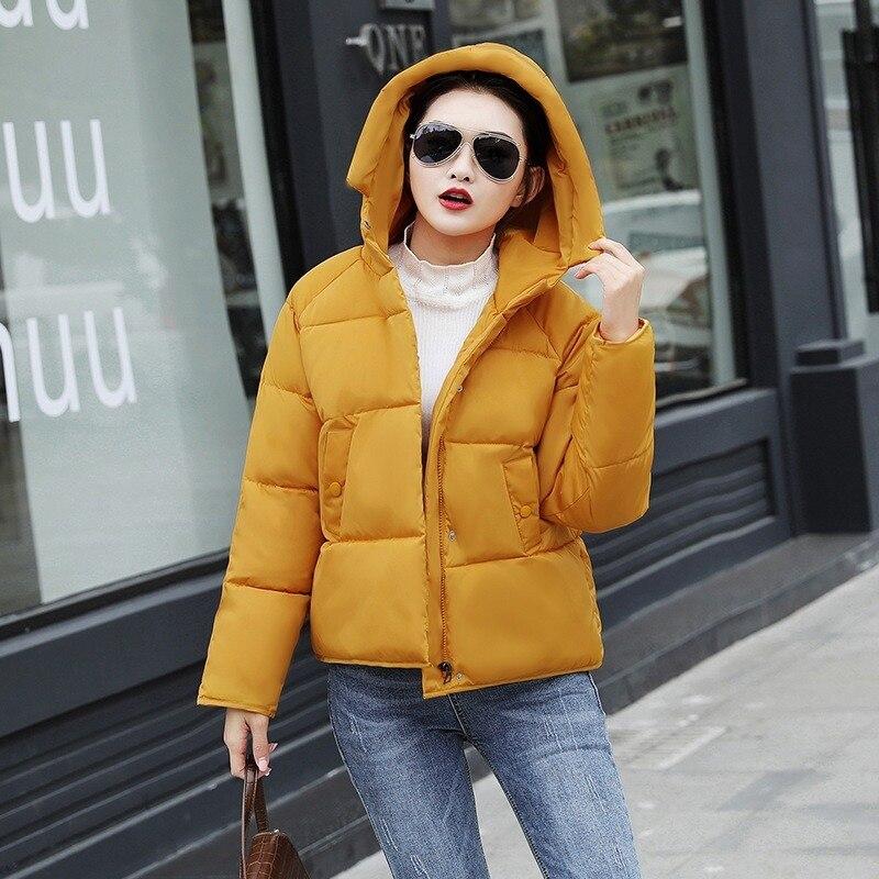 Корейская мода, зимнее утепленное короткое пальто, офисные женские повседневные парки на молнии с капюшоном, однотонные пальто с большими к...