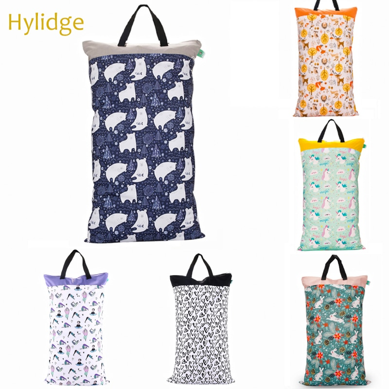 Hylidge Waterproof Wetbag for Diapers 40*70 Large Capacity Cloth Diaper Bag Reusable Wet Dry Nappy Clothes Storage Bag Printed