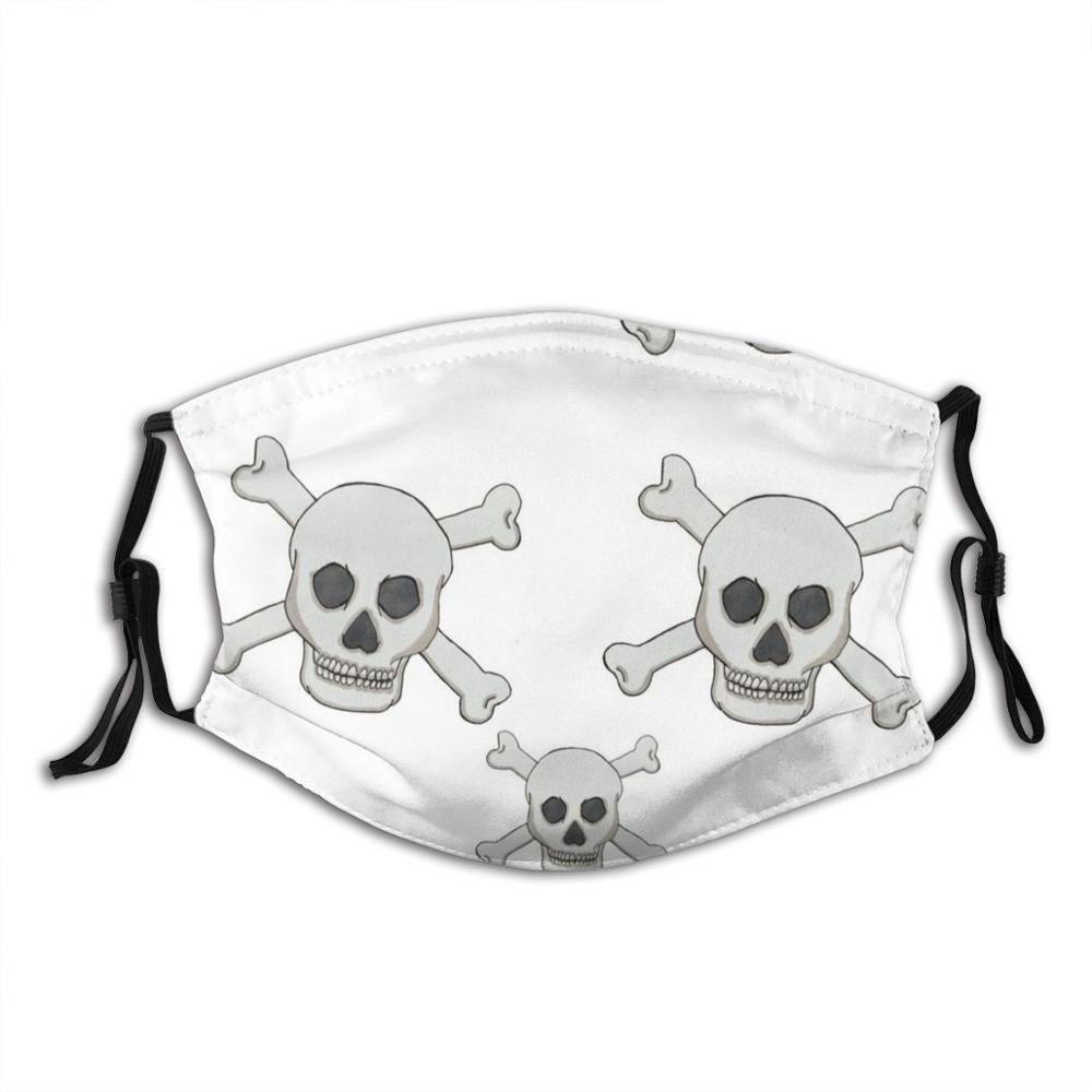 Skull And Cross Bones Pirate Pattern Funny Print Reusable Pm2.5 Filter Face Mask
