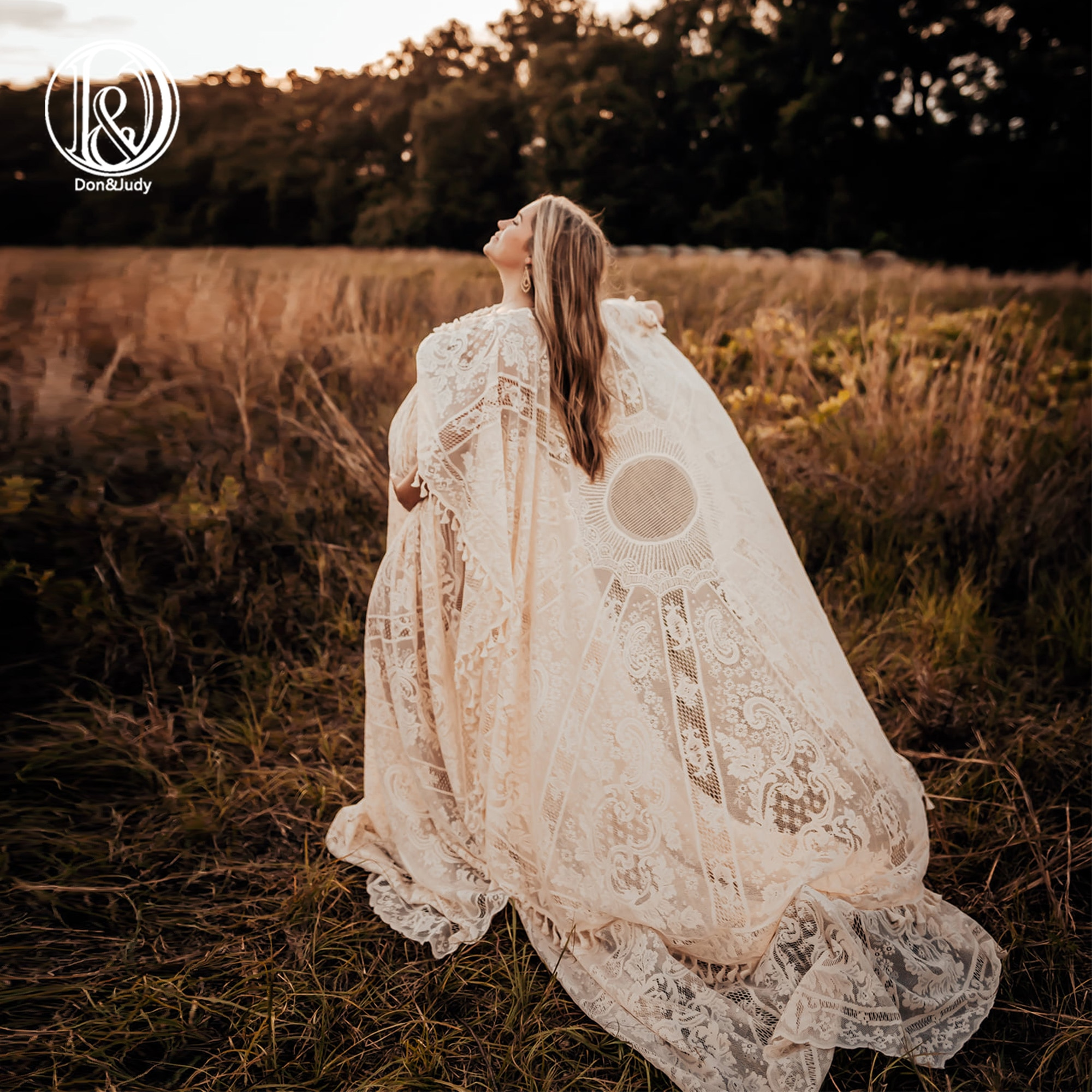 Don&Judy Boho Vintage Lace Maternity Gown with Cape Photography Pregnancy Evening Party Dress for Photo Shoot Pregnant Clothes