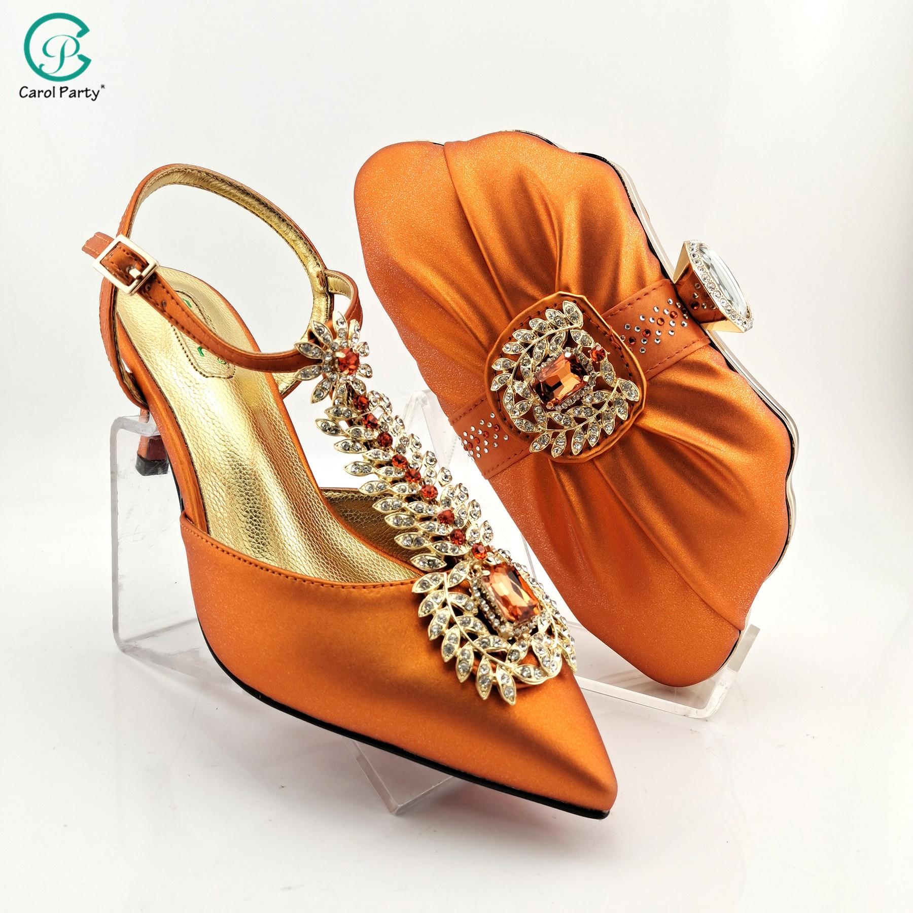 2021 أحدث تصميم إيطالي على الموضة نمط المرأة الأفريقية أحذية الزفاف وحقيبة مجموعات باللون البرتقالي للحزب الملكي