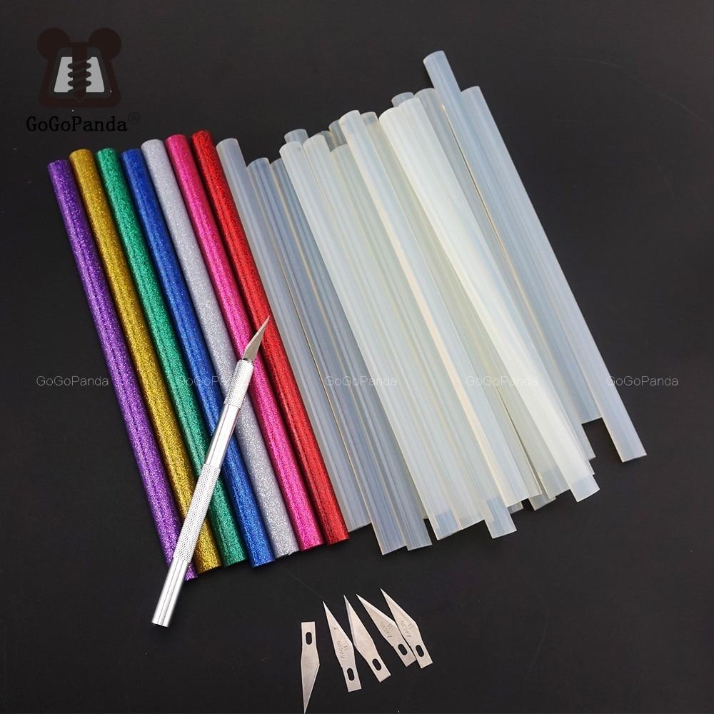 30 Teile/los Ungiftig 11mm X190mm Klebe Craft Sticks Desinger Power Tool Hot Melt Kleber Sticks Rot Grün schwarz Blau Bunte