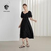 fansilanen office lady black polka dot french dress female summer 2021 new retro stitching square collar black long dress