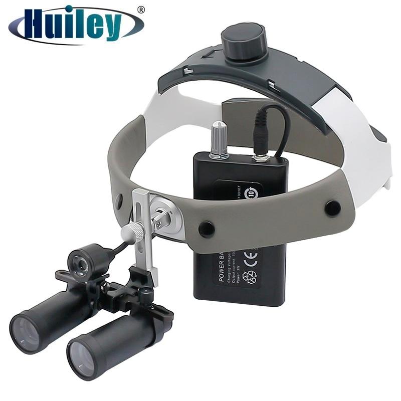 4X/5X/6X مجهر المكبر مع المصباح الأمامي خوذة الأسنان Loupes مع مصباح السوبر مشرق بطارية ليثيوم قابلة للشحن