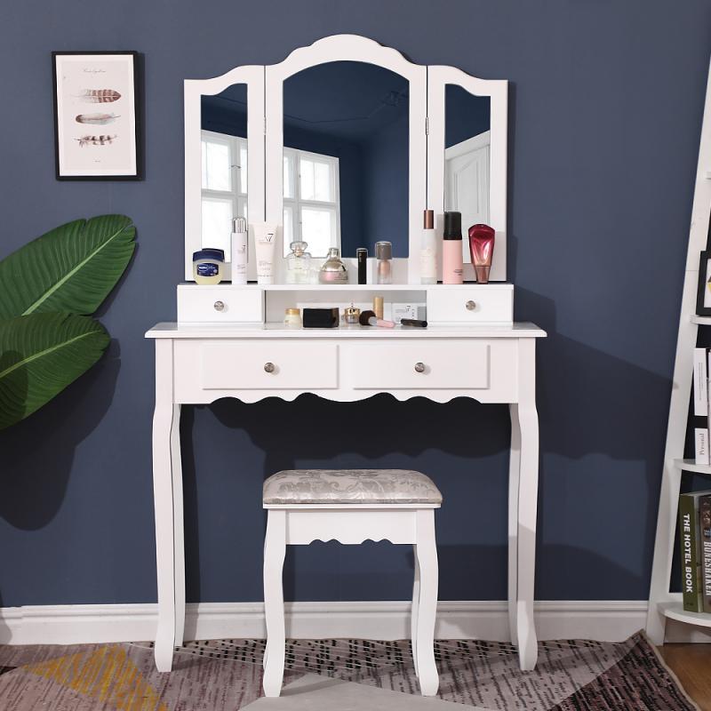 خلع الملابس تشكل الجدول الأبيض التجميل الغرور الجدول مع مرآة طاولة لغرفة النوم غرفة المعيشة عرض موقف مكتب الأدراج