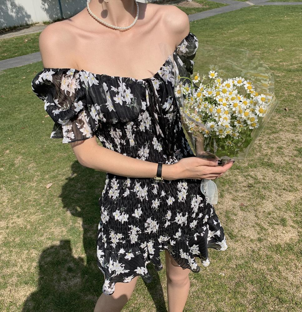 CMAZ 2021 Summer Women Short-Sleeved Chiffon Dress V-Neck  Floral Print Beach Mini Off Shoulder Sexy Dresses Vestidos 4144#