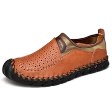 Summer Leather Casual Shoes Men Breathable Leisure Shoes Loafers  Men Leisure Shoes Soft Bottom Wate