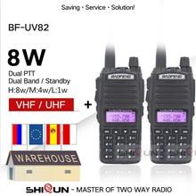 2pcs Baofeng UV-82 Walkie Talkie 8W Radio UV 82 Dual PTT Two Way Radio Tri Potenza Dual Band dual Display della Radio 10 KM Baofeng UV82