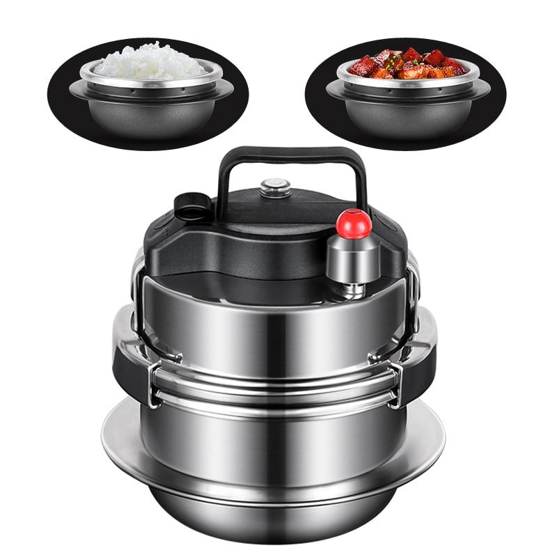 طباخ التعريفي الغاز العالمي طنجرة الضغط من الفولاذ المقاوم للصدأ وعاء الحساء والأرز متعددة الوظائف المنزلية إناء عميق