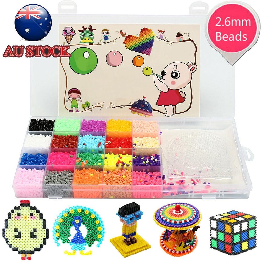 11000 шт 2,6 мм игрушки обучающие 3 Pegboards хама бусины набор подарок дети предохранитель Perler 20 цветов DIY ремесло изготовление кулон головоломки в ...