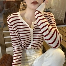 Cardigan Sweater Striped Sweater Women's Long Sleeved Cardigan Upper Clothes Early Autumn Clothes Sm