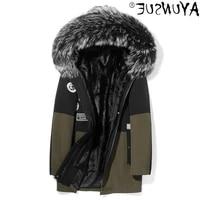 jacket winter men clothing genuine raccoon fur collar coat cunning fur jackets shearling parka 2021 hommes veste lxr299