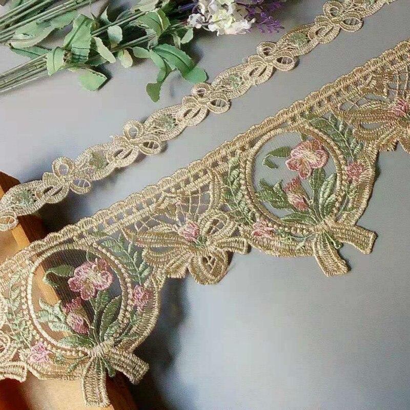 1 yardas de cinta de flores bordadas, cintas para tapicería de encaje para sofás, adornos de cortina, vestidos de borde, apliques beis 12 cm 3 cm, nuevo