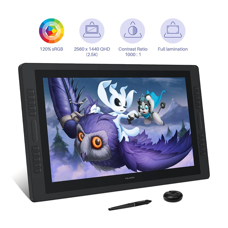 Huion Kamvas Pro 24 Graphic Tablet Monitor 23.8 inch 2K QHD Pen Display 120%s RGB Pen Tablet Monitor Dual Touch Bar 20 Keys