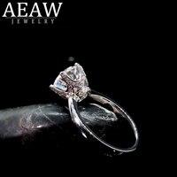 aeaw 18k solid white gold 3 0ct round cut moissanite diamonds engagement women trendy fine jewelry ring