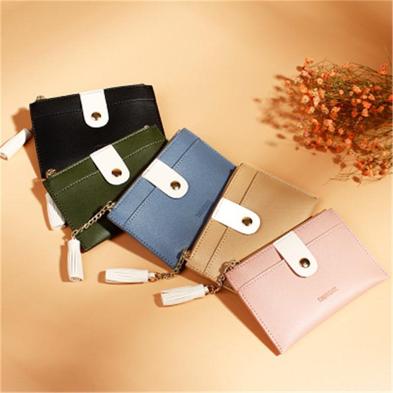 Korean Solid Color Mini Wallet Tassel Creative Card Holder PU Zipper Small Coin Purse Clutch Bags Mo