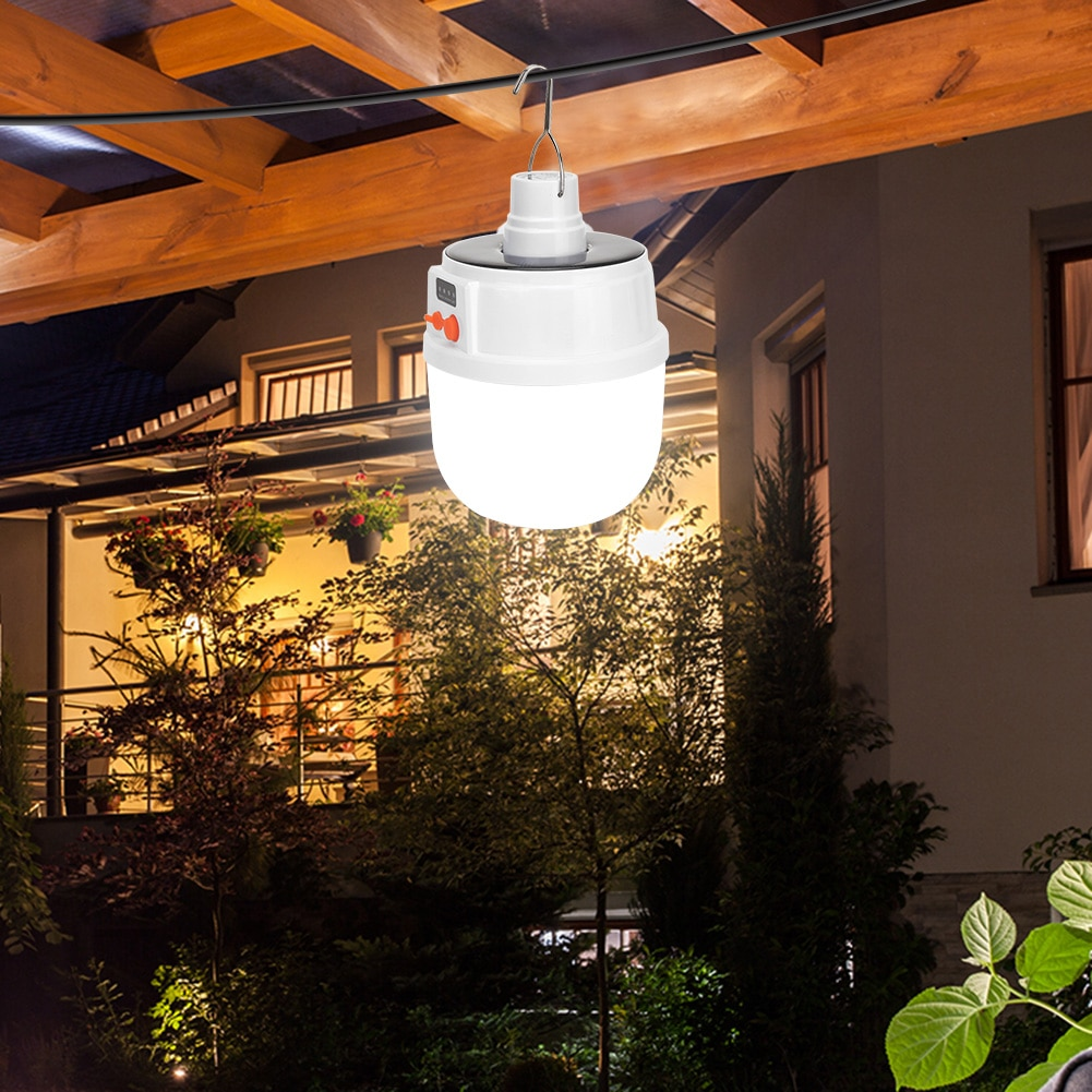 Super brilhante bola lâmpada luz tenda pendurado lâmpada de energia solar led portátil ao ar livre churrasco acampamento à prova dwaterproof água fácil instalação
