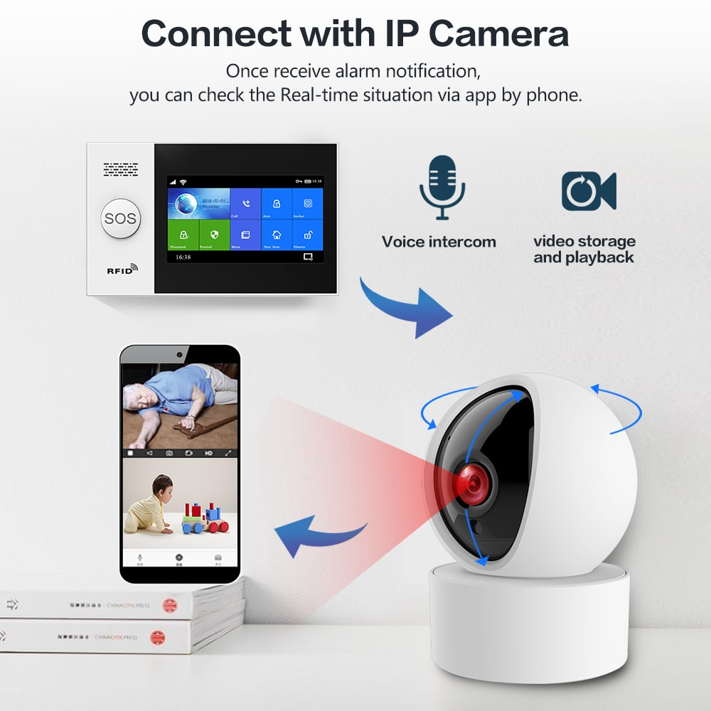HIVA Alarm Systems Security Home Wifi Gsm with Pir Motion Sensor Tuya Smart Life Alarm work with Alexa enlarge