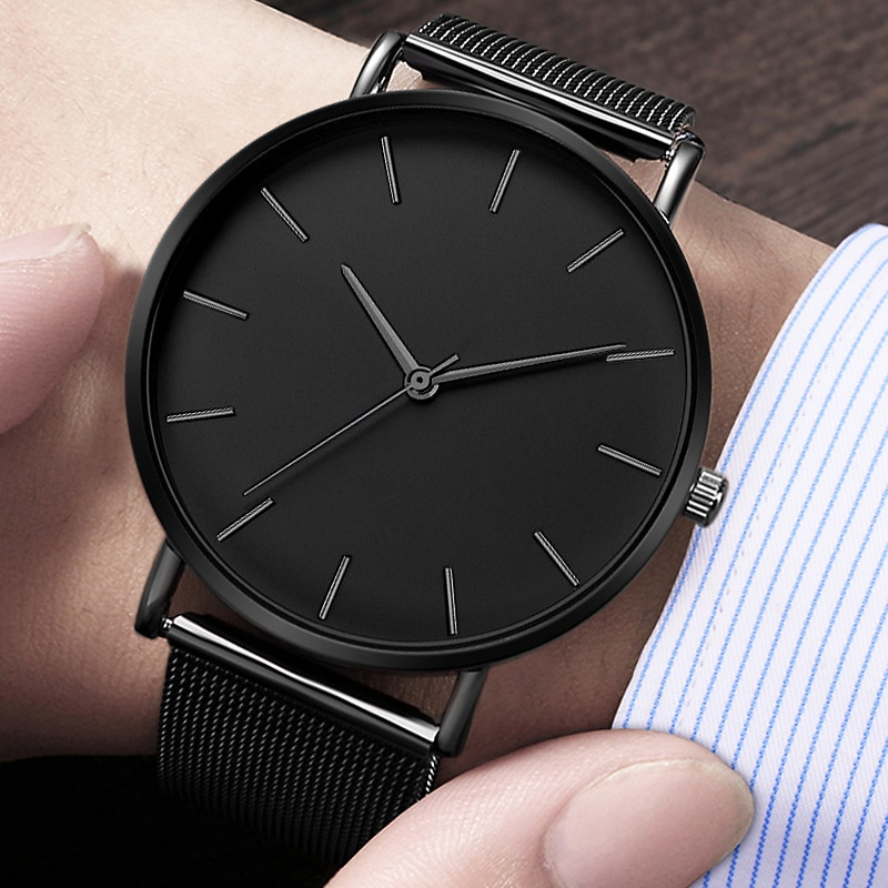 Reloj de cuarzo para hombre, Reloj de cuarzo informal sencillo de metal, Reloj de malla de acero inoxidable, Reloj masculino erkek kol saati