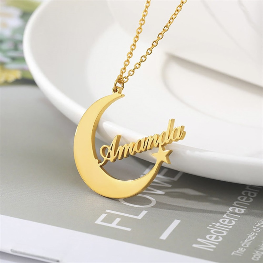 My Shape Moon Star Name Custom Necklace Stainless Steel Customized Personalized Letter Pendant Jewelry 2020 New Year