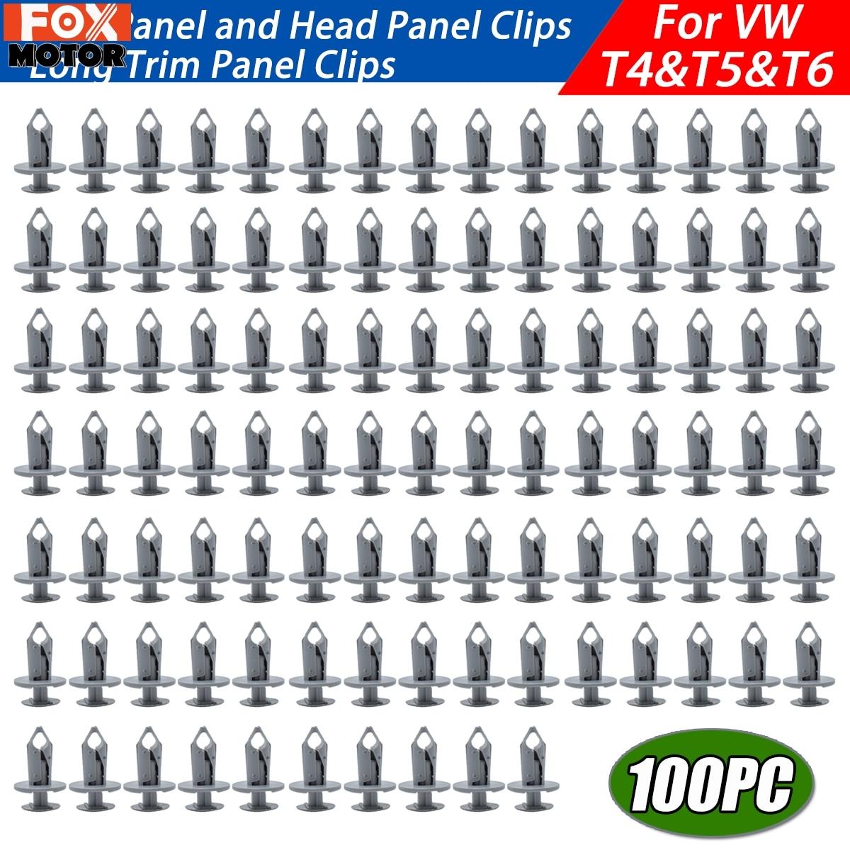 100 piezas para VW Transporter T4 T5 T6 Clips de Panel de corte largo más largo alfombra gris forro plástico retenedor remaches Auto parachoques sujetadores