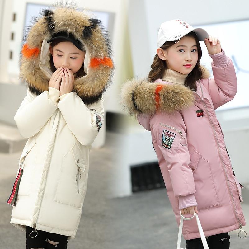 النسخة الكورية الشتاء الأطفال أسفل سترة فتاة كبيرة الأطفال سميكة مقنعين الأطفال متوسطة طويلة أسفل سترة
