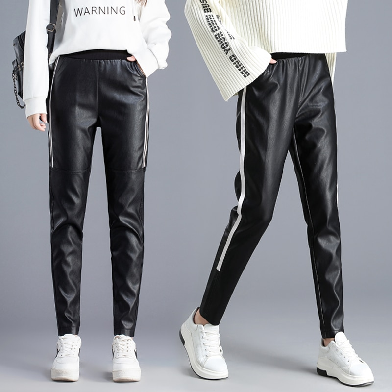 #0532 Autumn PU Leather Pants Women Side White Stripe Casual Elastic Waist Ankle Length Pencil Harem Leather Trousers 2020