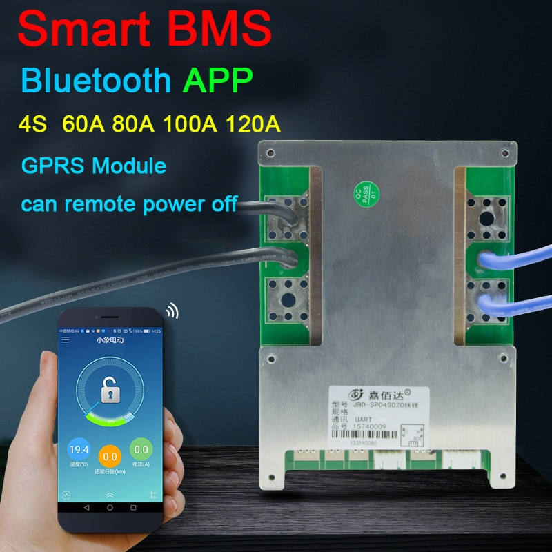 4S 12V 60A 80A 100A 120A smart BMS Li-ion LifePo4 Lithium Protection Board balance H Current Bluetooth APP software GPRS Module