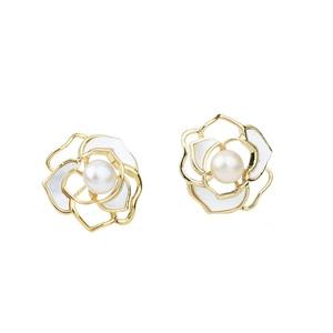 Brand Freshwater Pearl  Camellia Flower 925 sterling silver earring studs Design Wedding Party Earrings