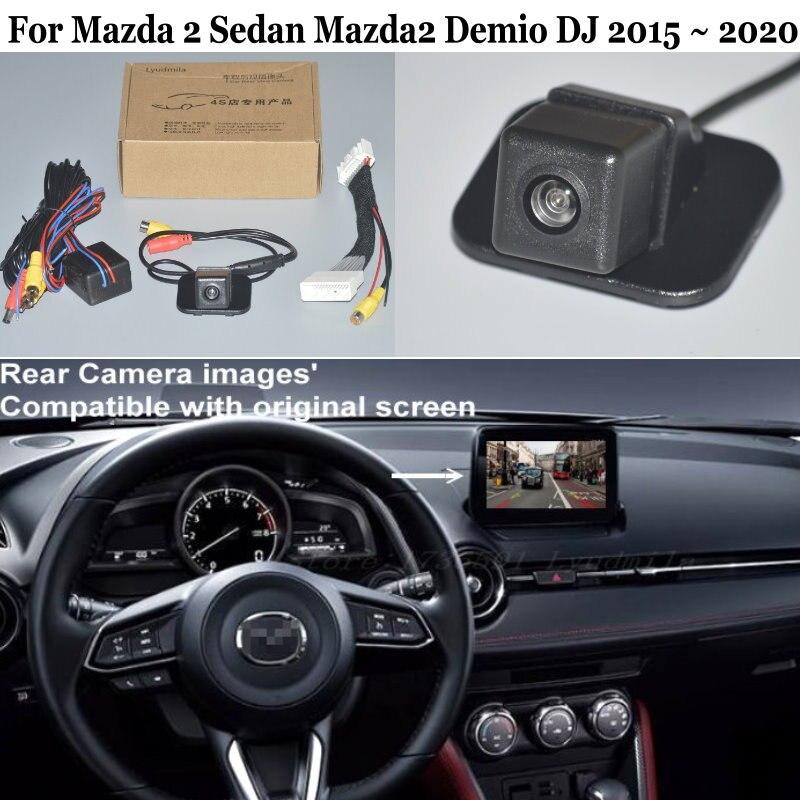 Cámara de Vista trasera de coche para Mazda 2 sedán Mazda2 Demio DJ 2015 ~ 2020 cable adaptador de 28 pines Compatible con pantalla Original HD CCD