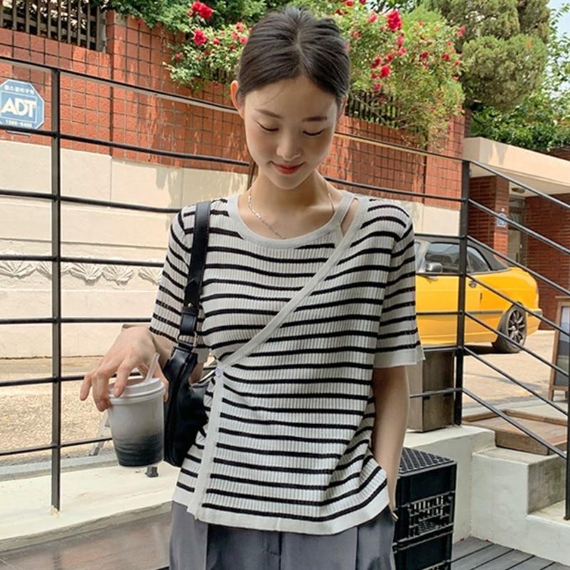 الكورية شيك كم طويل تي شيرت الصيف الفرنسية تصميم الرقبة المستديرة وهمية اثنين قطري شريط قصيرة الأكمام سترة المرأة الأعلى