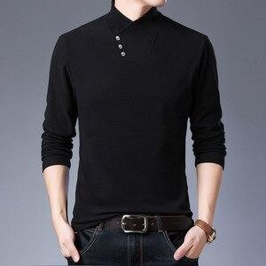 2020 Men's Black T-Shirt Long Sleeve Tshirts Thin Slim Personality V-Neck T Shirts Male Scarf Collar Casual Tees  Autumn Tops