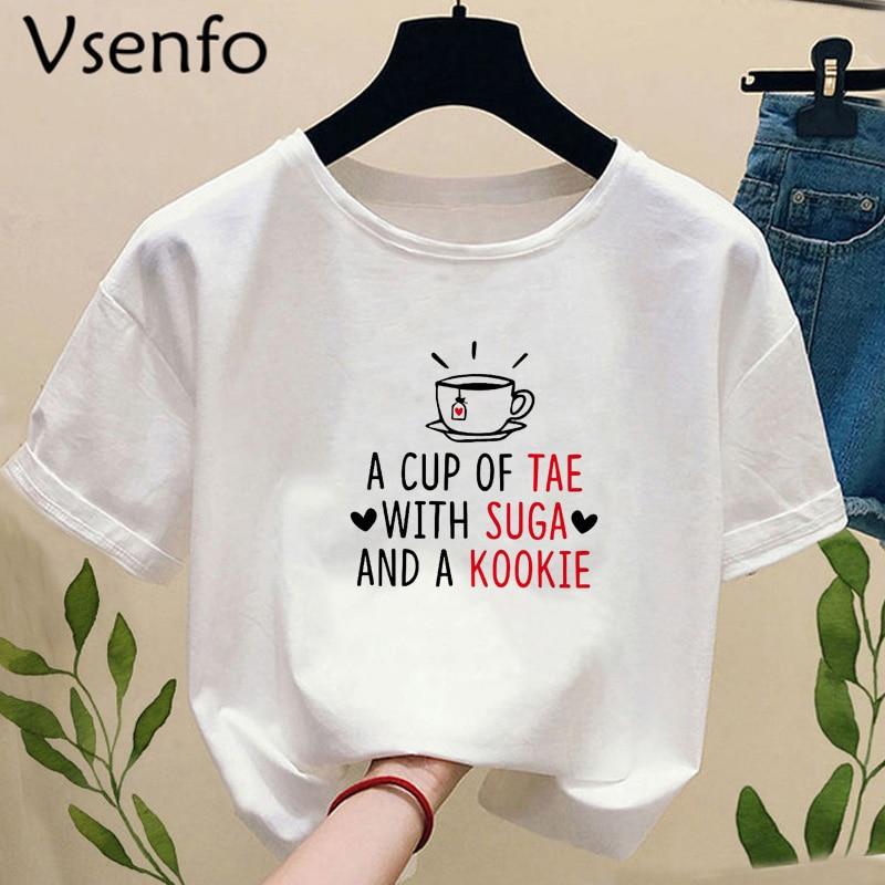 Футболка Kpop в стиле Харадзюку, чашка Tae с Suga и Kookie, футболка Bangtan Sonyeondan K-Pop, корейская модная летняя женская одежда