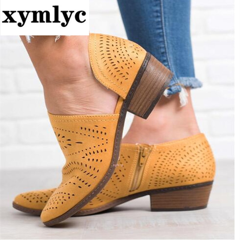 Botas de tacón bajo para Mujer, Botines de piel sintética con agujeros,...
