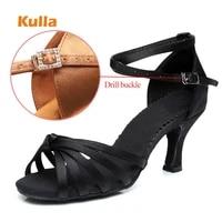 women latin dance shoes drill buckle woman salsa tango ballroom dancing shoes 7cm high heels soft knot cross girls dance sandals
